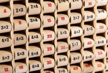 Wooden childs multiplication table