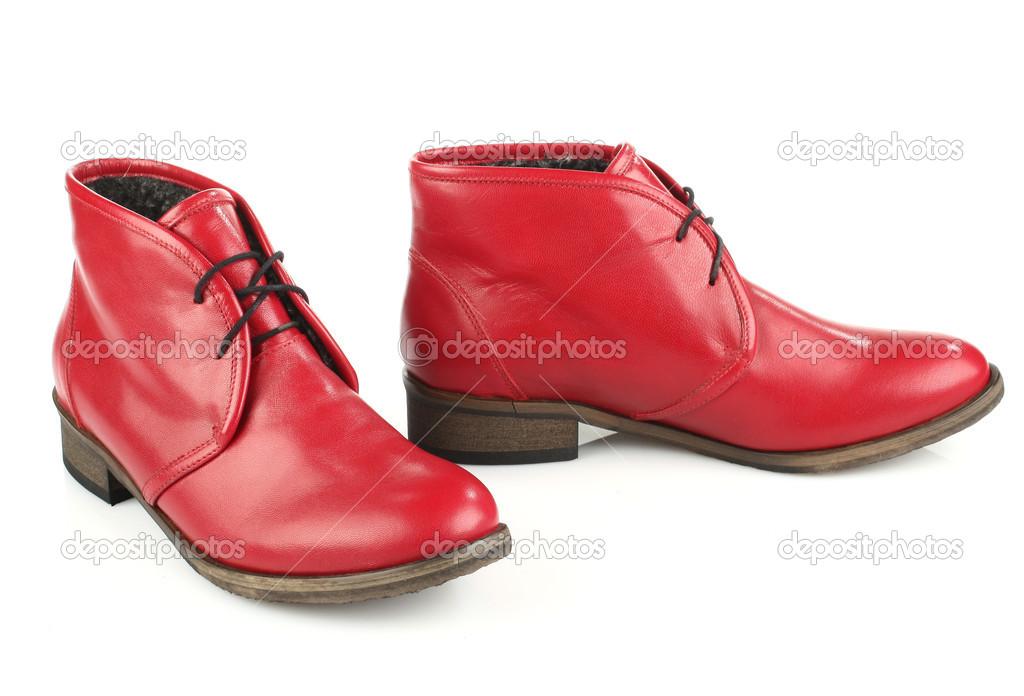 Rote Stiefel für Damen mit Schnürsenkeln — Stockfoto