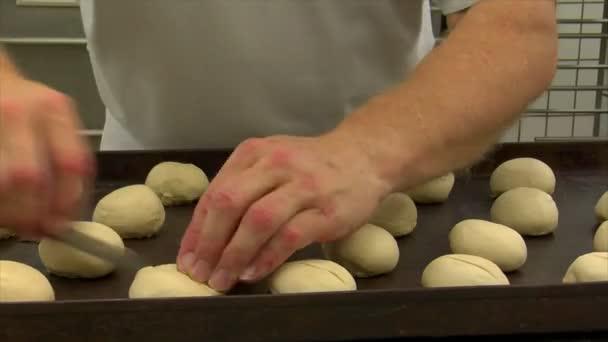 German bakery roll dough cut into dolly 10727