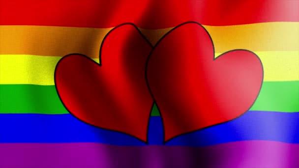 waving rainbow flag hearts 10575