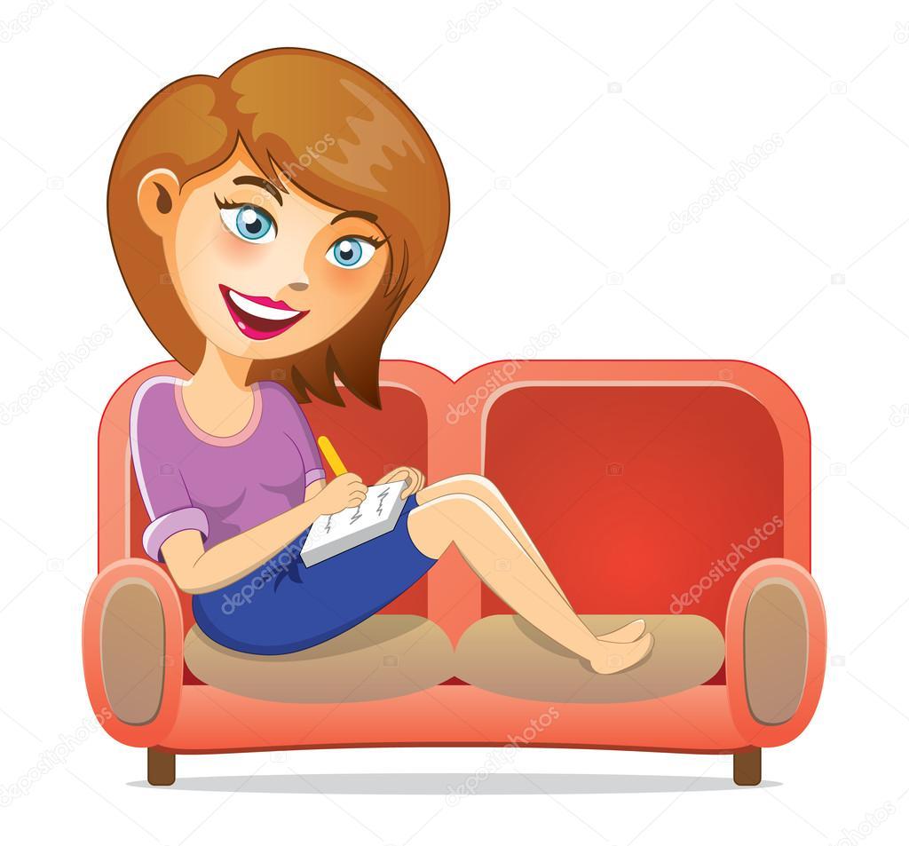Young Girl Writing A Book On Sofa Stock Vector C Eranoa 34033279