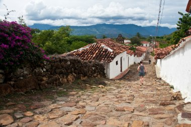 Typical street view at the colonial village of Guane, Santander,
