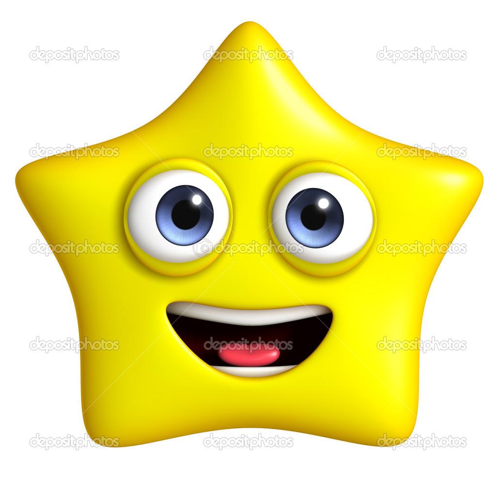Estrellas De Colores Con Caritas Estrella Feliz Foto De
