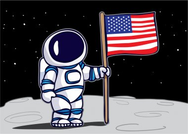 Astronaut planting flag on the moon