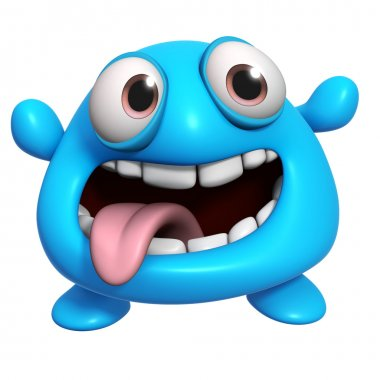 3d cartoon crazy blue monster