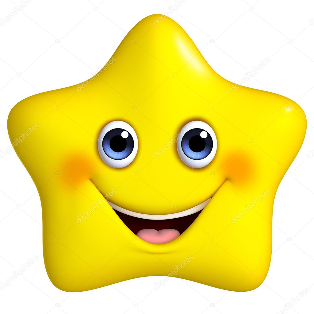 3d cartoon yellow star
