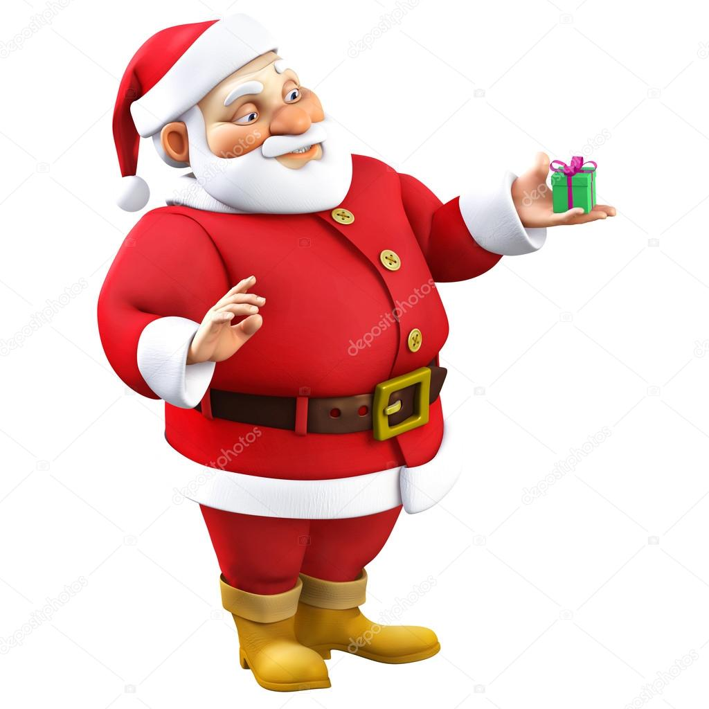 Image De Noel 3d.3d Cartoon Santa With Present Stock Photo C Bertoszig