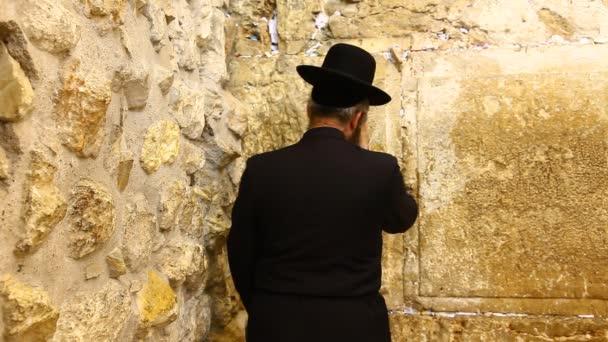 Ortodox zsidó Rabbi imádkozik, a nyugati fal, Jeruzsálem, Izrael