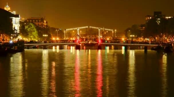 hubený most amsterdam, Holandsko, noc, časová prodleva