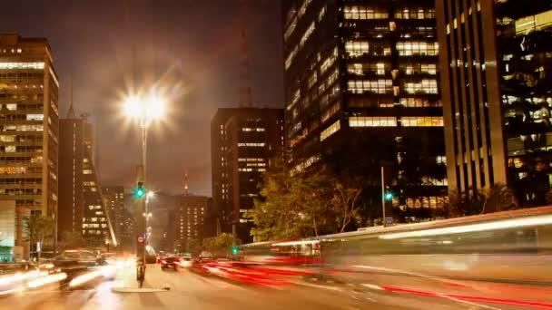 Avenida Paulista night traffic time lapse Sao Paulo Brazil