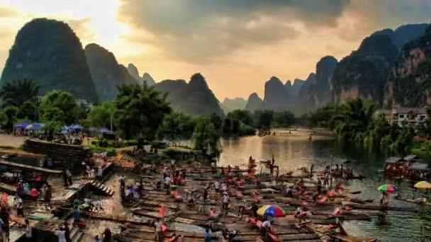 horkovzdušným balónem a rafting - yangshuo, časová prodleva