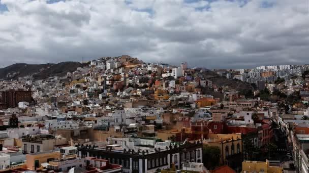 Las Palmas de Gran Canaria city skyline aerial, looking North timelapse