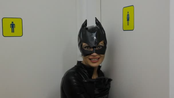 Woman in a catwoman dress