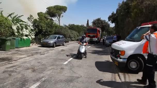 Zásahová vozidla během požáru inkiryat tivon, Izrael