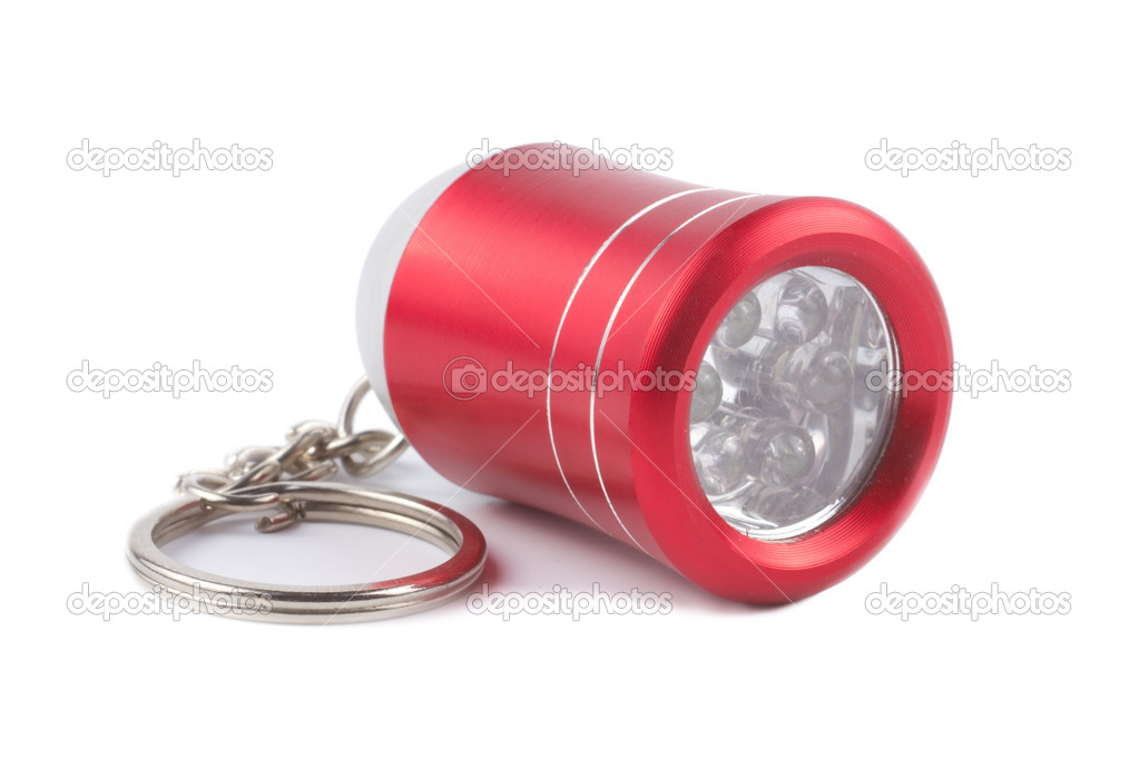 Zaklamp Rood Licht : Rood metalen led zaklamp sleutelhanger geïsoleerd op witte