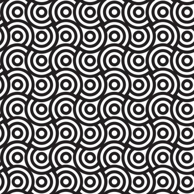 Spirals and Circles, Black and White Abstract Geometric S