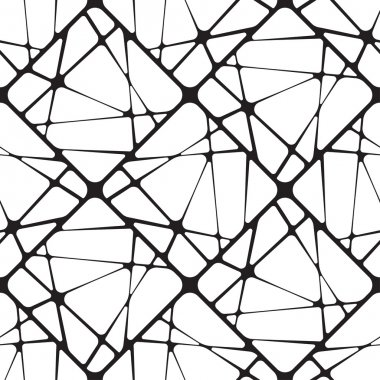 Broken Tiles, Black and White Abstract Geometric Vector Seamless