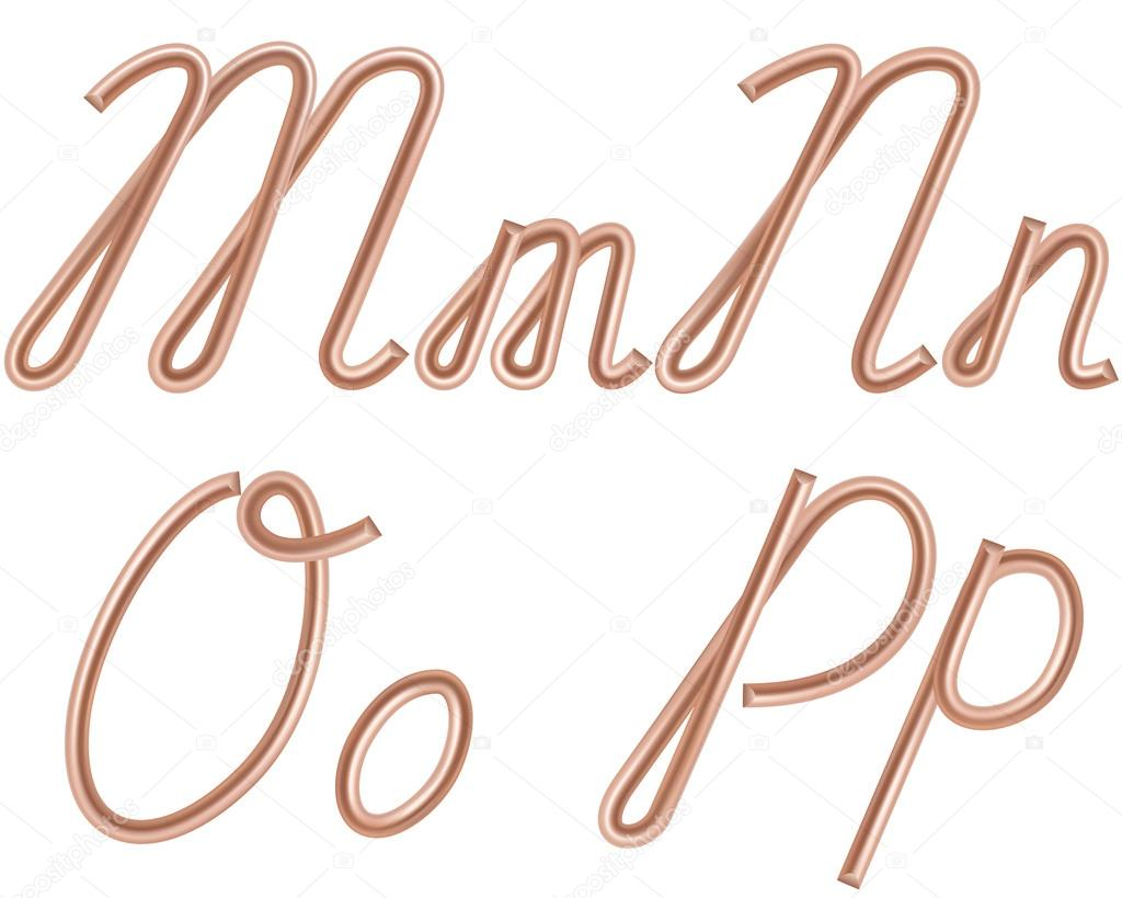 M, N, O, P Vector Letters Made of Metal Copper Wire, Modern US E ...