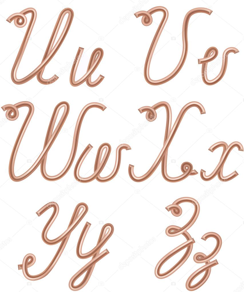 U, V, W, X, Y, Z Letters Made of Metal Copper Wire, Moder — Stock ...