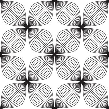 Flowers, black and white abstract geometric