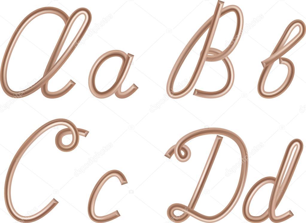 a, b, C, d vector Buchstaben hergestellt aus Metall Kupfer-Draht ...