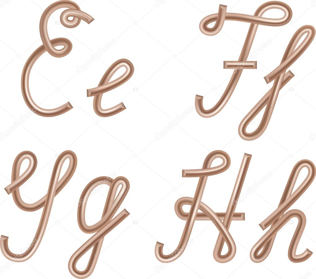 E, F, G, H Vector Letters Made of Metal Copper Wire — Stock Vector ...