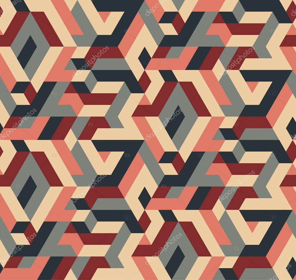 Abstract Vector Seamless Geometric Pattern, Vintage Colors