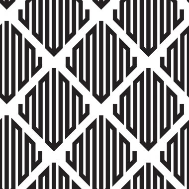 Black and White Op Art Design, Vector Seamless Pattern Backgroun
