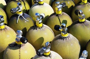 A stack of nitrox scuba air tanks