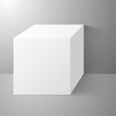 Cube standing near a wall, with clean surfaces