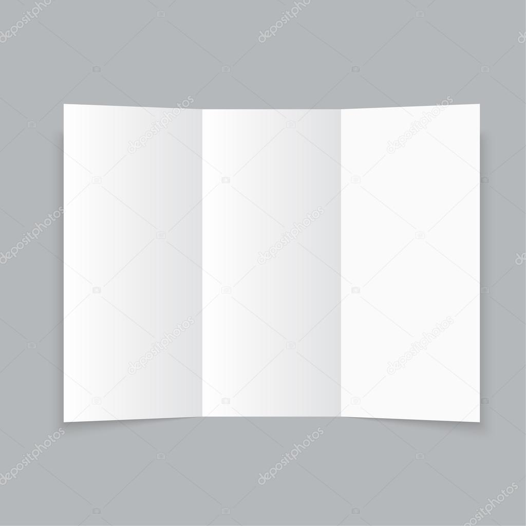 white stationery blank trifold paper brochure stock vector
