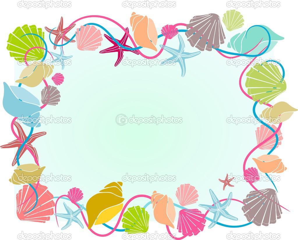 marco de concha de diversos colores en estilo de dibujos animados ...