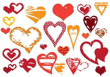 Set of 23 different grunge hearts, on white background stock vector