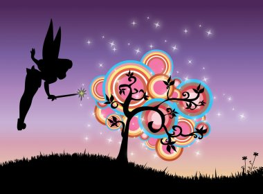 Abstract illustration of fairy and magic tree in summer night