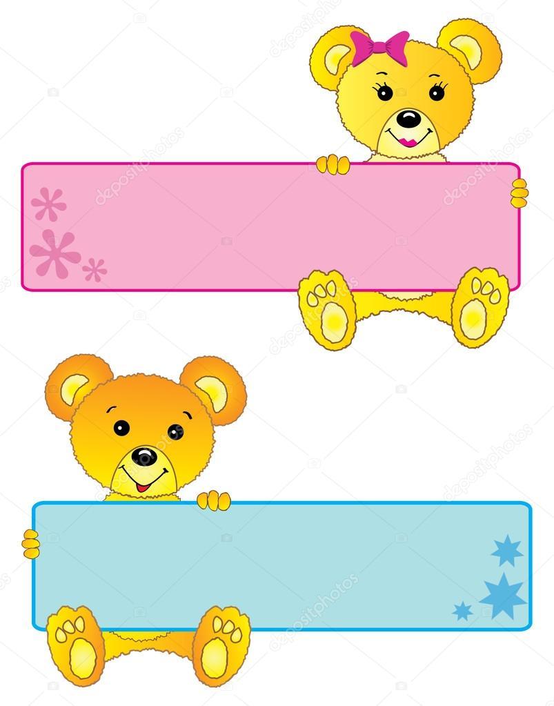 osos de peluche, linda niña y niño banners o marcos — Fotos de Stock ...