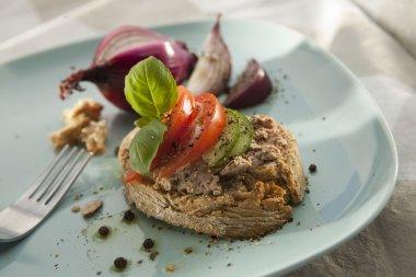 Pate Sandwich on Plate.