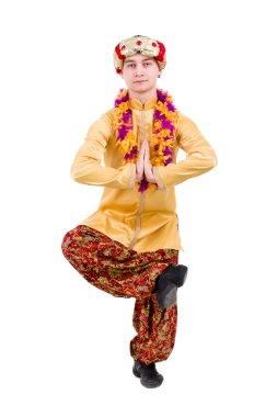 Man doing yoga exercises
