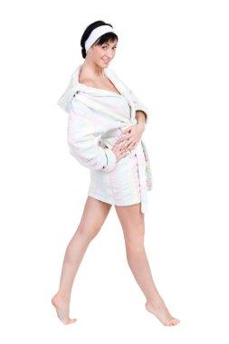 Woman in bathrobe full portrait isolated on white