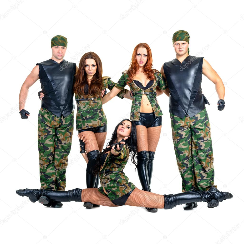 cc14d0763e14 Military dancer team dressed in camouflage costumes — Stock Photo · Dancers  in camouflage. Isolated on white background in full length.