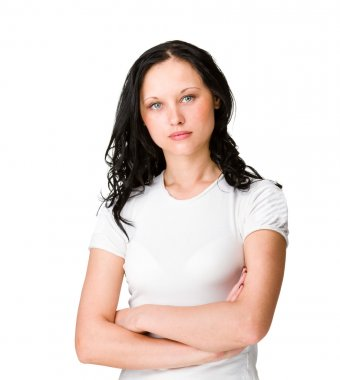 Woman worried about the future isolated on white