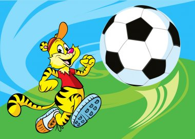Tiger runs a soccer ball illustration