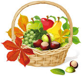 Cesto con frutta autunnale e verdure, isolate