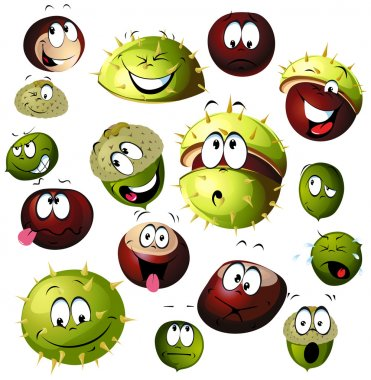 Chestnut and acorn cartoon character