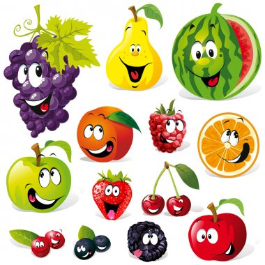Funny fruit cartoon isolated on white background stock vector