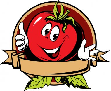 Round tomato cartoon label