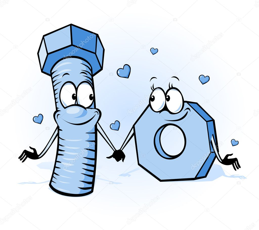 Bolt and nut cartoon - belong together, design for valentines day or wedding card clipart vector