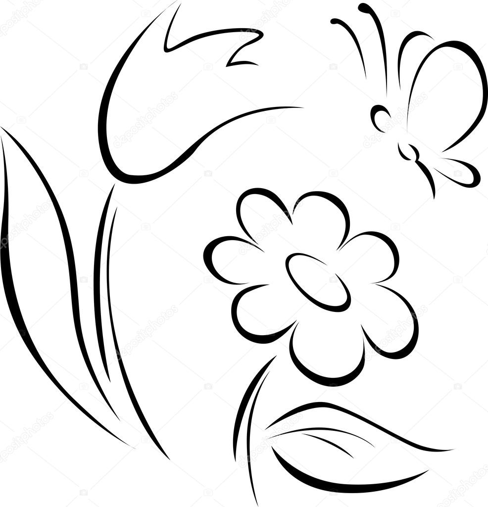 spring flower outline