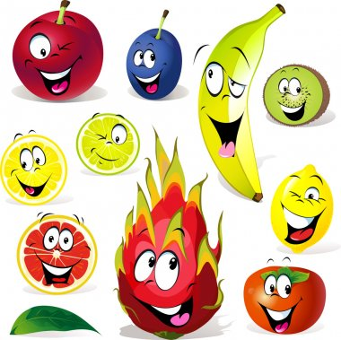 fruit cartoon with many expressions