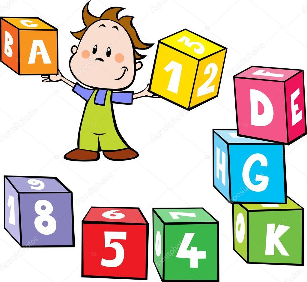Illustrazione del ragazzino tenere cubi colorati con lettera e ...
