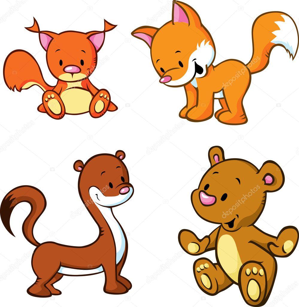 キツネ、クマ、イタチ、リス - 白い背景で隔離のかわいい動物漫画